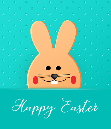 Happy Easter. Cartoon Easter Bunny looking at a green embossed background. Template for greeting card. Paper cut style. Vector Ilustracja