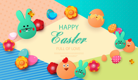 Easter card with rabbit and chickens, spring flowers and flat Easter icons on colorful modern geometric background. Vector illustration Place for your text.Paper cut style