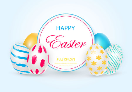 Easter card with round frame, white decorated 3D decorative eggs on colorful modern background. Vector illustration Place for your text.