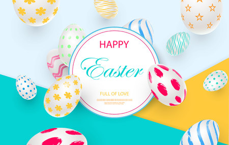 Easter card with round frame, white decorated 3D decorative eggs on colorful modern geometric background. Vector illustration Place for your text. Ilustracja