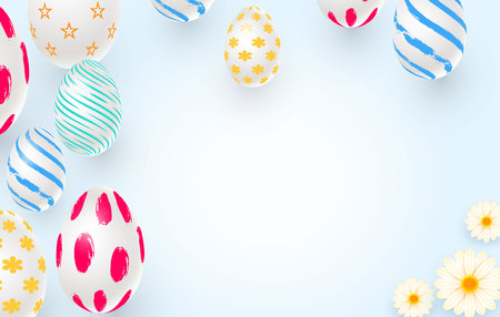 Easter holiday background with 3d easter eggs and daisies. Top view with copy space. Vector illustration