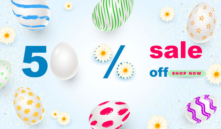Easter card with realistic 3d eggs on a light background. Vector illustration Place for your text. Decorated eggs with small floral and geometric patterns