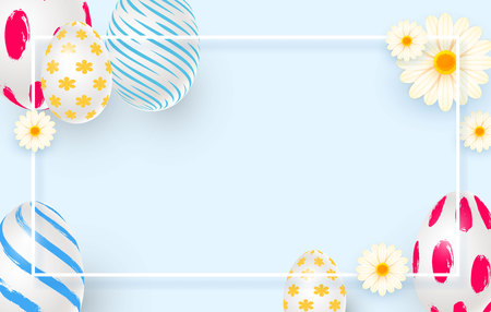 Easter holiday background with 3d easter eggs, daisies and square frame. Top view with copy space. Vector illustration