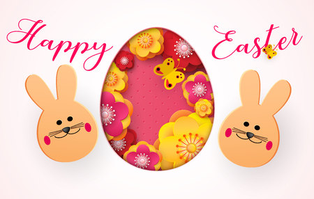 Happy Easter. Cartoon Easter Bunny looking at a pink embossed background. Template for greeting card. Paper cut style. Vector Ilustracja