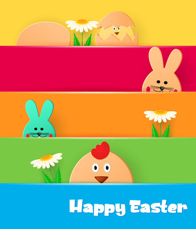 Bright greeting card with Happy Easter. Easter bunny and chicken looking on a light background. Flowers, eggs and greens. Template for greeting card. Paper cut style. Vector