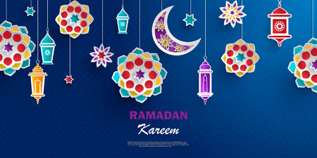 Ramadan Kareem concept banner with islamic geometric patterns. Paper cut flowers, traditional lanterns, moon and stars on dark blue background. Vector illustration.