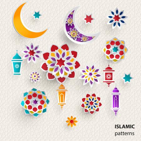 Paper graphics of Islamic symbols. Vector illustration.