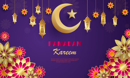Ramadan Kareem concept banner with islamic geometric patterns. Paper cut flowers, traditional lanterns, moon and stars on dark violet background. Vector illustration.