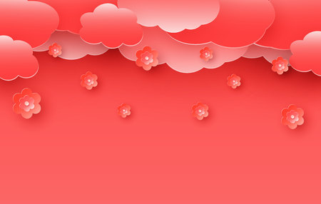 Cherry blossom illustration blooming in spring on a coral background. Paper cut and craft style. Vector illustration. Beautiful coral background