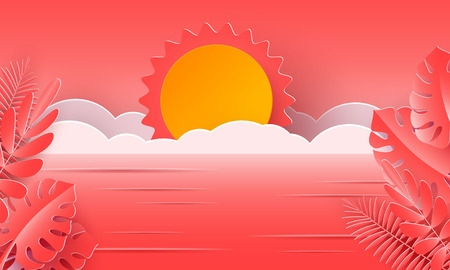 Sea waves and tropical coral leaves in the style of paper art. Vector illustration. A poster with a summer vacation in the design of paper.