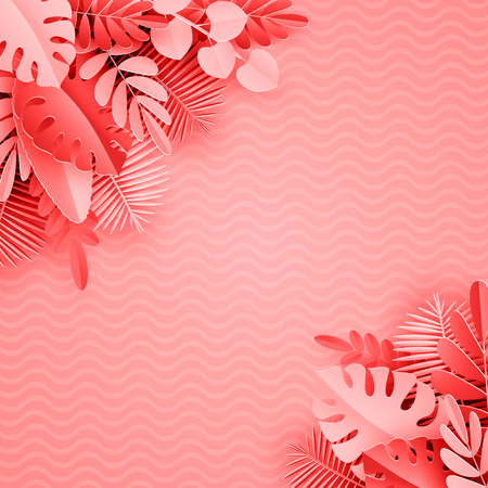 Tropical paper palm, monstera leaves frame. Summer tropical leaf. Origami exotic hawaiian jungle, summertime background. Paper cut style.Coral background