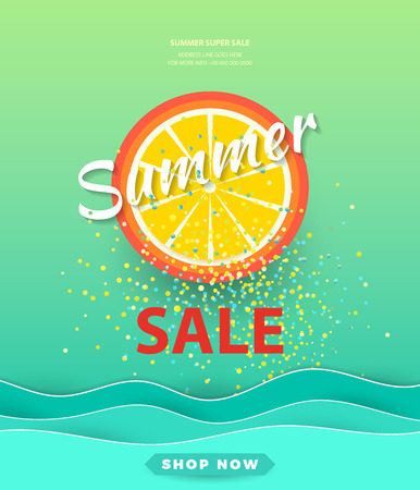 Summer sale background for banners.Orange slices on a bright background.Season discounts. Template for flyer, invitation, poster, brochure, discount on voucher.