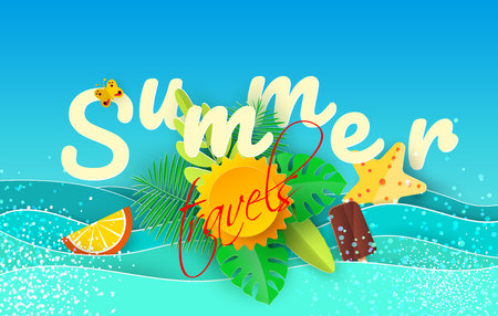 Sea waves and tropical leaves in the style of paper art. Vector illustration. A poster with a summer vacation in the design of paper.