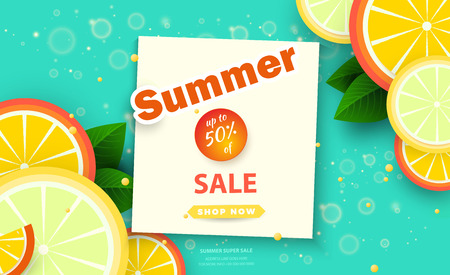 Summer sale background for banners.Orange slices on a bright background.Season discounts. Template for flyer, invitation, poster, brochure, discount on voucher.Vector illustration template. Ilustracja