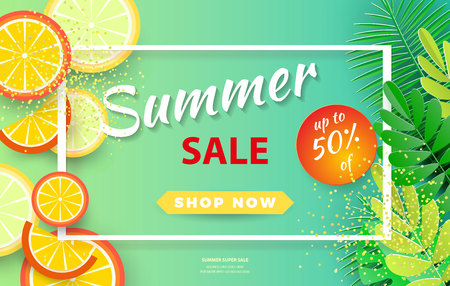 Summer sale background for banners, Palm leaves and orange slices on a bright background.Season discounts. Template for flyer, invitation, poster, brochure, discount on voucher.