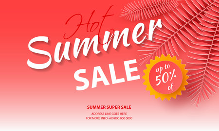 Seasonal sale background for banners, Coral palm leaves on a bright background.Season discounts. Template for flyer, invitation, poster, brochure, discount on voucher.Vector illustration Zdjęcie Seryjne - 129363833