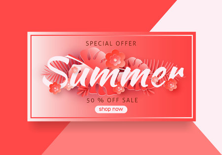 Seasonal sale background for banners, Coral palm leaves on a bright background.Season discounts. Template for flyer, invitation, poster, brochure, discount on voucher.Vector illustration