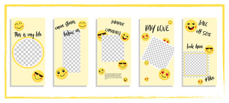 Trendy editable template for social networks story, vector illustration. Design backgrounds for social media.Funny yellow happy faces tell stories Ilustracja