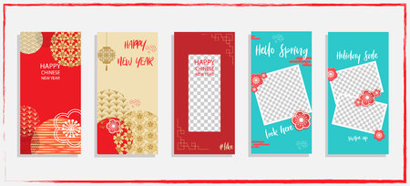 Trendy editable template for social networks story, vector illustration. Design backgrounds for social media.Happy chinese new year Ilustracja