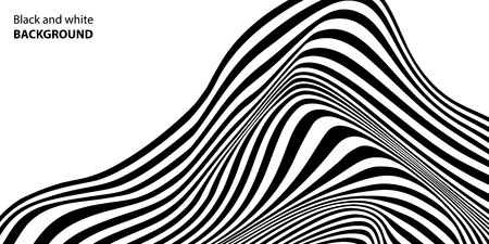 Black and white wave stripe optical abstract design. Vector background. curved lines.Vector