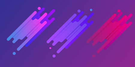 Set icons of dynamic shapes on a purple background