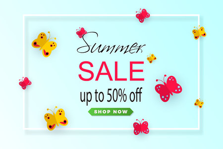 Bright colorful background. Cute paper-cut butterflies on a blue background. Theme of spring, summer. Sale banner. Vector Ilustracja