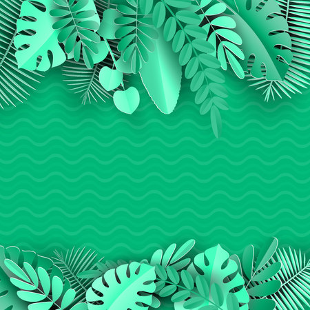 Tropical paper palm, monstera leaves frame. Summer tropical leaf. Origami exotic hawaiian jungle, summertime background. Paper cut style.Bright green background Zdjęcie Seryjne - 129363856