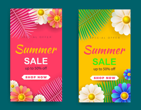 Summer sale background layout banners.voucher discount.Palm leaves and flowers. Vector illustration template.