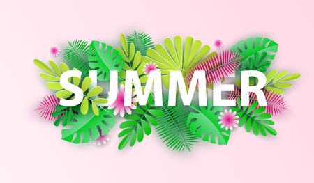 Hello summer typographic design with abstract forms of paper cutting and tropical leaves. Template for banner, card, poster. Vector illustration. Ilustracja