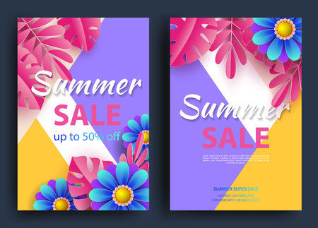 Summer sale of the background layout of banners. A discount. Tropical leaves and flowers. Template for flyer, postcard, voucher. Vector illustrations.