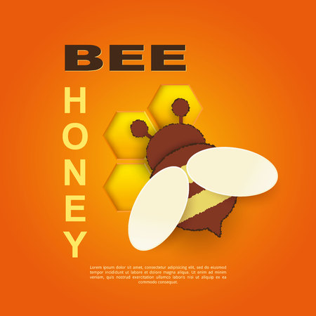 Paper cut like a bee with honeycombs. Design template for beekeeping and honey advertising. Orange background. Place for your text. Vector illustration. Zdjęcie Seryjne - 129363861
