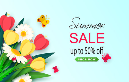 Summer sale background layout banners. A discount. Wild flowers crocuses and daisies. Template for flyer, postcard, voucher. Vector illustration