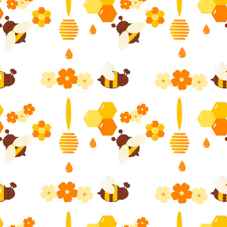 Repeating pattern for packing honey products. Organic and natural honey. Drops of honey, bees, honeycombs, flowers isolated on white. Design template for beekeeping. Vector illustration
