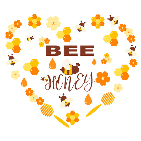 Honey products vector flat illustrations. Organic and natural honey. Drops of honey, bees, honeycombs, flowers isolated on white. Design template for beekeeping and honey advertising. Vector Reklamní fotografie - 127113235