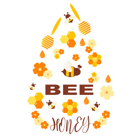 Honey products vector flat illustrations. Organic and natural honey. Drops of honey, bees, honeycombs, flowers isolated on white. Design template for beekeeping and honey advertising. Vector illustration.
