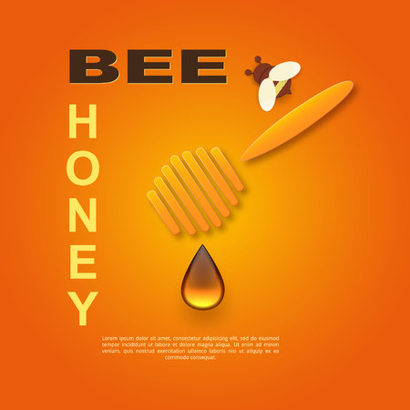 Paper cut like a bee with honeycombs. Design template for beekeeping and honey advertising. Orange background. Place for your text. Vector Ilustracja