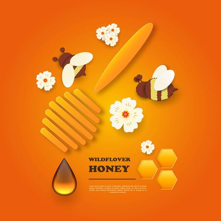 Paper cut like a bee with honeycombs. Design template for beekeeping and honey advertising. Orange background. Place for your text. Vector illustration.
