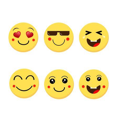 Abstract funny flat style emoji emoticon reactions color icon set.Vector illustration Zdjęcie Seryjne - 129363886