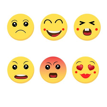 Abstract funny flat style emoji emoticon reactions color icon set.Vector illustration Ilustracja