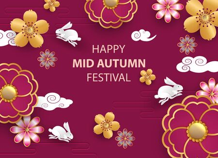 White rabbits with paper cut chinese clouds and flowers on geometric background for Chuseok festival. . Vector illustration. Zdjęcie Seryjne - 129363894
