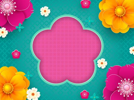 Happy Chinese New Year. Greeting Card, poster, flyer or invitation design with paper cut flowers.Vector illustration.