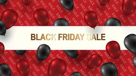 Black Friday Sale Poster with Shiny Balloons on a red Background with Square Frame. Vector illustration.