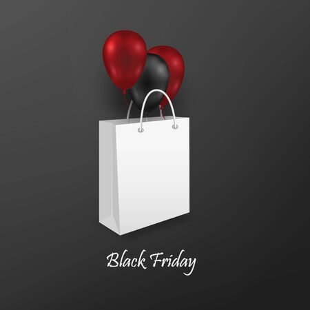 Package layout with colorful balloons. Design element for black friday. Vector illustration Ilustracja