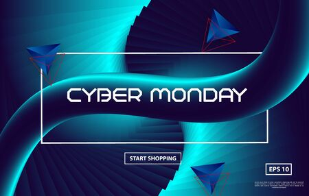 Cyber Monday sale poster design with Creative 3d flow shape on blue background. Vector gradient trendy illustration Zdjęcie Seryjne - 129363944