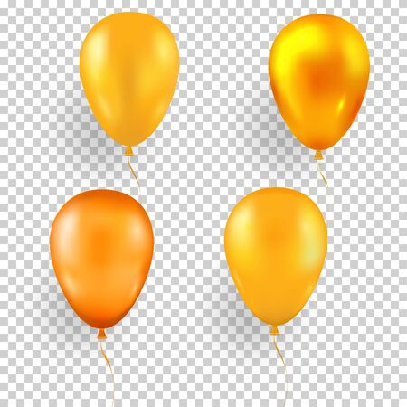 Set of yellow balloons in different shades and a glossy golden balloon on a transparent background. Glossy realistic birthday ball.Vector illustration Zdjęcie Seryjne - 129363945