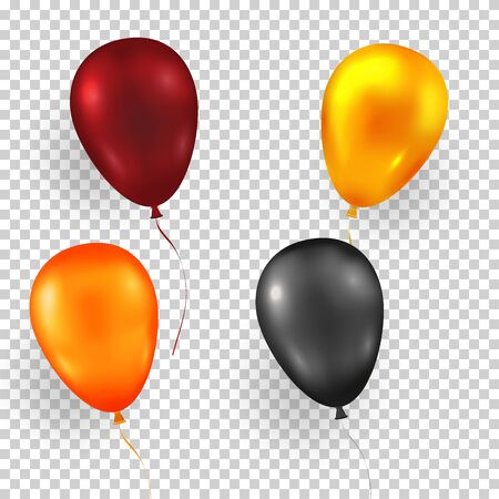Multi color helium balloons on an isolated background. Colorful holiday decorations are perfect for a birthday, anniversary, or special event. For example for Black Friday. Vector illustration. Ilustracja