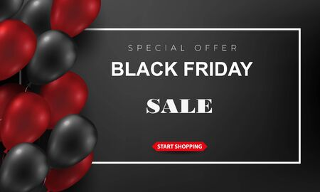 Black Friday Sale Poster with Shiny Balloons on a dark Background with Square Frame. Vector illustration.