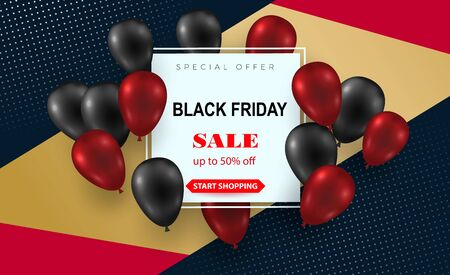 Black Friday Sale poster with shiny balloons on a multi-colored background with a Square frame. Vector illustration. Ilustracja