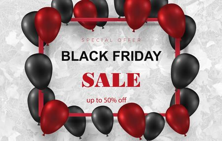 Black friday sale poster with shiny balloons on a white background with a square frame. White background with falling leaves Vector illustration.