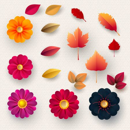 Set of multicolored paper flowers and autumn leaves. Design elements for cards, posters, vouchers. Wedding decorations.Vector illustration